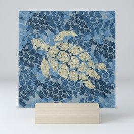 Honu Sea Turtle Hawaiian Tapa  Mini Art Print