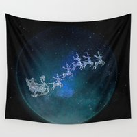 cooking Wall Tapestries featuring Santa on his Glitter way by UtArt