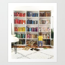 Baby and Books Art Print