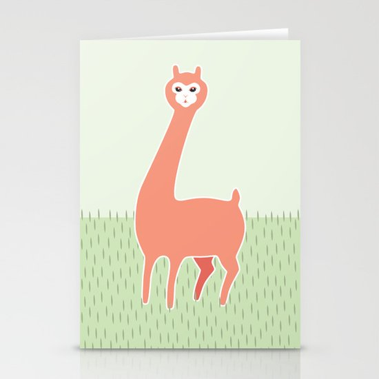 Green Meadows and a Peach Alpaca Stationery Cards