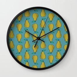 Pear stripes fruit pattern by andrea lauren pears home decor illustration food art Wall Clock