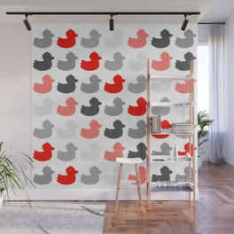 Ducky ducks pattern (red / greyscale edition) Wall Mural