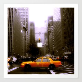 Yellow City Cab Art Print