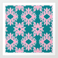 Katherine - Digital Symmetrical Abstract in Pink and Teal Art Print