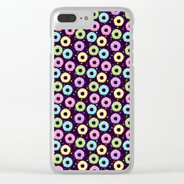 delicious donuts with multi-colored icing on a dark background. cartoon donuts Clear iPhone Case