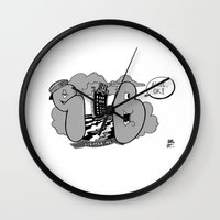 submarine Wall Clocks featuring submarine by ouchgrafix urban art