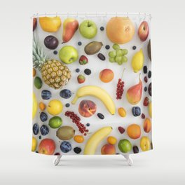 Collection of summer fruits Shower Curtain