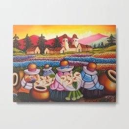 Calla Lily Sellers amid the Poppy Fields & Ranunculus landscape painting Metal Print
