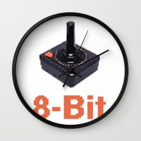 8 bit Wall Clocks featuring 8-Bit by Cory Fitzpatrick