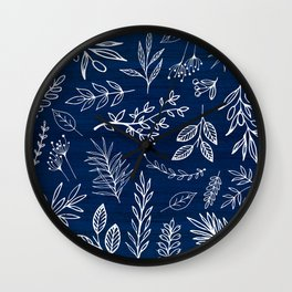 In The Wind - Blue and White Leaf Sketch Wall Clock