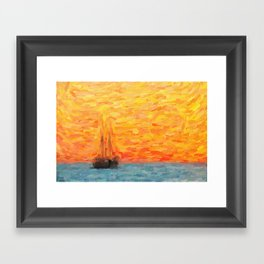 abstract Sailing Vessel in Calm Resta Framed Art Print