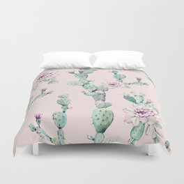 Cactus Rose Pattern on Pink Duvet Cover