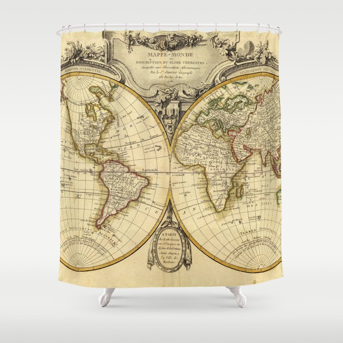Old Fashioned World Map 1782 Shower Curtain