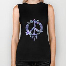 Purple Watercolor Peace Symbol Floral Dreamcatcher Biker Tank