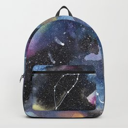 Galaxy sky in watercolors with star constellations Backpack