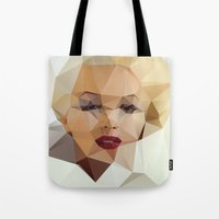 grunge Tote Bags featuring Monroe. by David