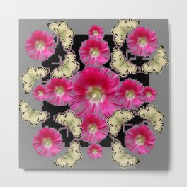ABSTRACTED GREY & PINK HOLLYHOCK FLORAL BUTTERFLY PATTERN Metal Print