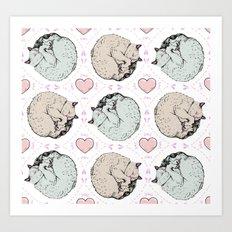 Sleepy Kitty Pattern Art Print