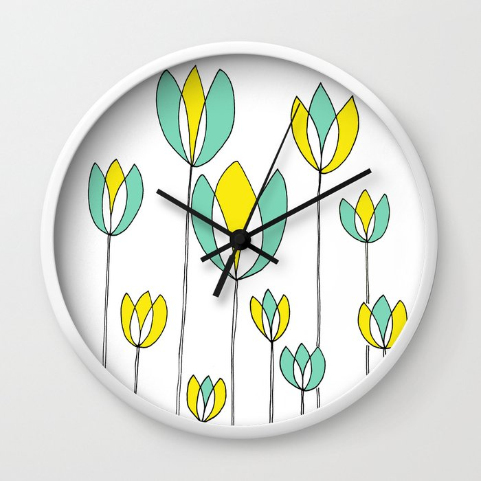 Drawing of Teal and Yellow Happy Tulips by Emma Freeman Designs Wall Clock