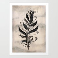 feather Art Prints featuring FEATHER by Nika