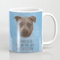 pit bull Mugs featuring Pit Bull Print by Roxy Makes Things