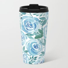 Pale blue roses . Watercolor . Metal Travel Mug