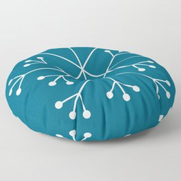 Mod Snowflake Teal Floor Pillow