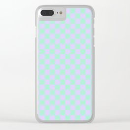 Magic Mint Green and Pale Lavender Violet Checkerboard Clear iPhone Case