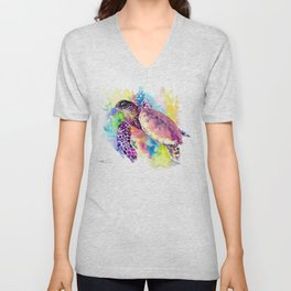 Sea Turtle in Coral Reef, tropical colors sea world purple yellow blue turtle art, turtle illustrati Unisex V-Neck