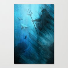 Scuba Diver meets Poseidon  Canvas Print
