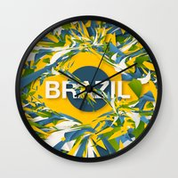 brazil Wall Clocks featuring Abstract Brazil by Danny Ivan
