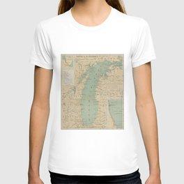 Vintage Lake Michigan Lighthouse Map (1898) T-shirt