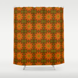 Autumnal Leaves Red and Green Repeating Pattern Shower Curtain