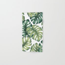 Monstera botanical leaves illustration pattern on white Hand & Bath Towel