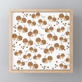 Hedgehogs in autumn Framed Mini Art Print