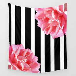 Pink roses on black and white stripes Wall Tapestry