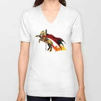 smaug V-neck T-shirts featuring Smaug by MarieJacquelyn