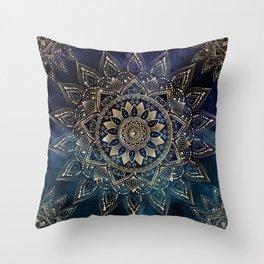 Elegant Gold Mandala Blue Galaxy Design Throw Pillow