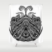 henna Shower Curtains featuring Henna of Pugly by Huebucket