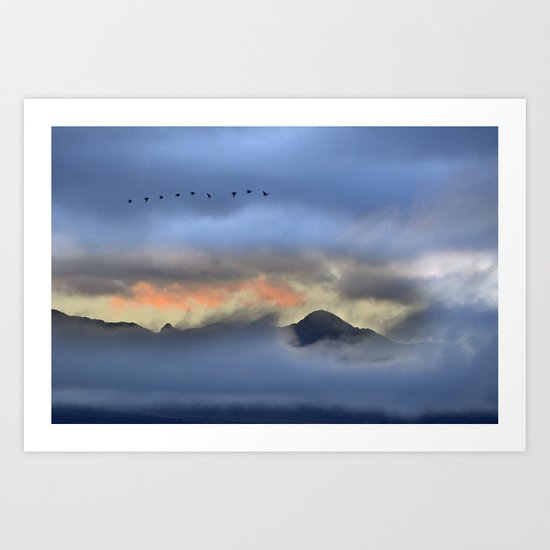"""Sunrise at the mountains"". Birds in the morning. Art Print"