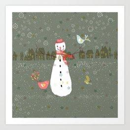 Cute Christmas Snowman & Birds Winter Scene Art Print