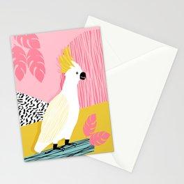 FeelFree - memphis throwback retro bird tropical nature animal parrot cockatoo 1980s 80s pop art Stationery Cards