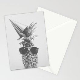 Party Pineapple in Black and White Stationery Cards