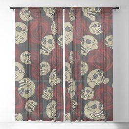 Red Roses & Skulls Grey Black Floral Gothic Sheer Curtain