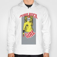 punk rock Hoodies featuring Punk rock Girl by Caetanorama Art Studio