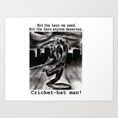 Cricket Bat Man Art Print