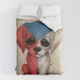 Cute Puppy Dog with flag of Czech Republic Comforters