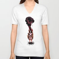 lolita V-neck T-shirts featuring Flaming Lolita by Katie Badenhorst