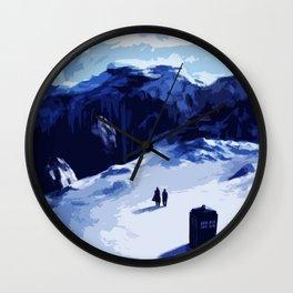Tardis Art At The Snow Mountain Wall Clock