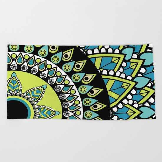 Petrichor Blue & Green Leaf Patterned Mandala Beach Towel